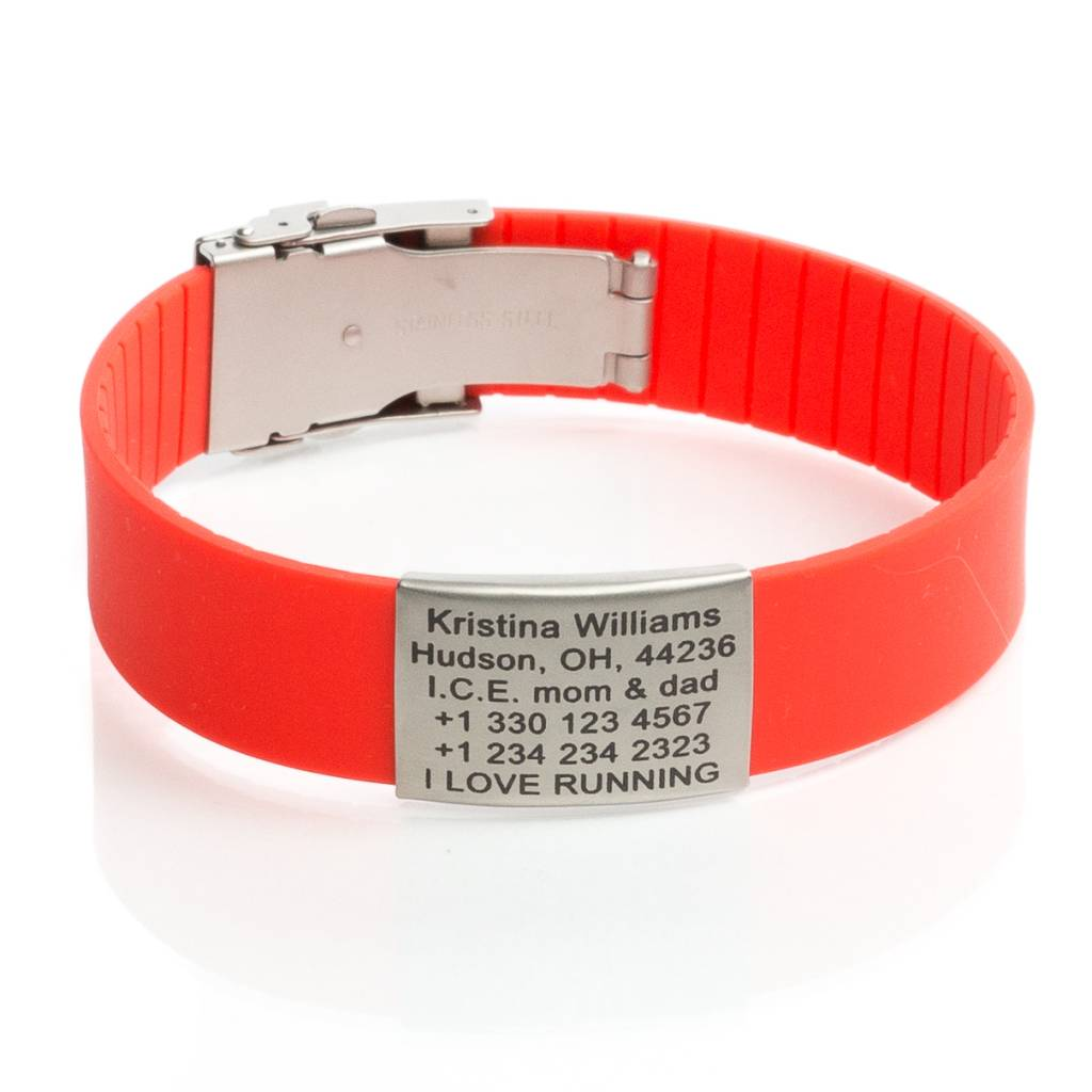 Safety Sport Id Name Bracelet Red