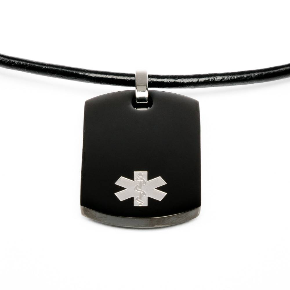Medical necklace icetagsid medical id necklace dogtag black mozeypictures Image collections