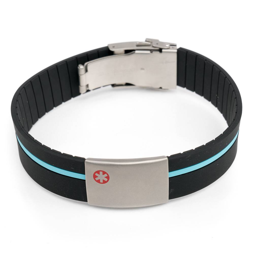 Medical Alert Bracelet Black With Blue Band