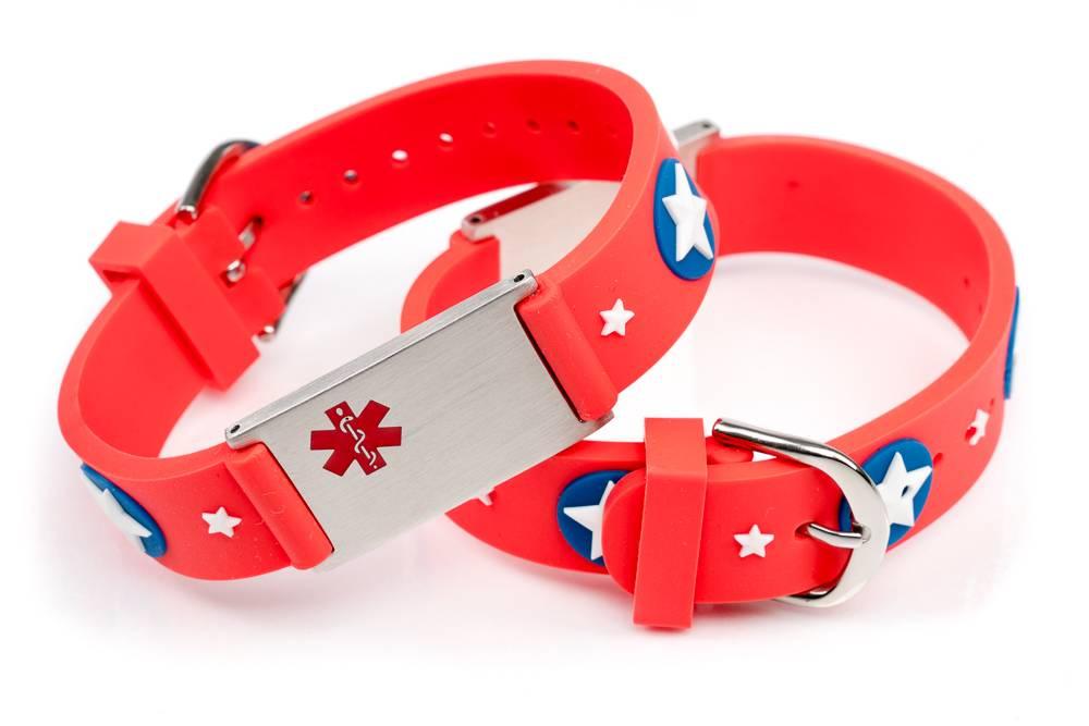 Icetags Medical Id Alert Bracelet For Kids Red Stars