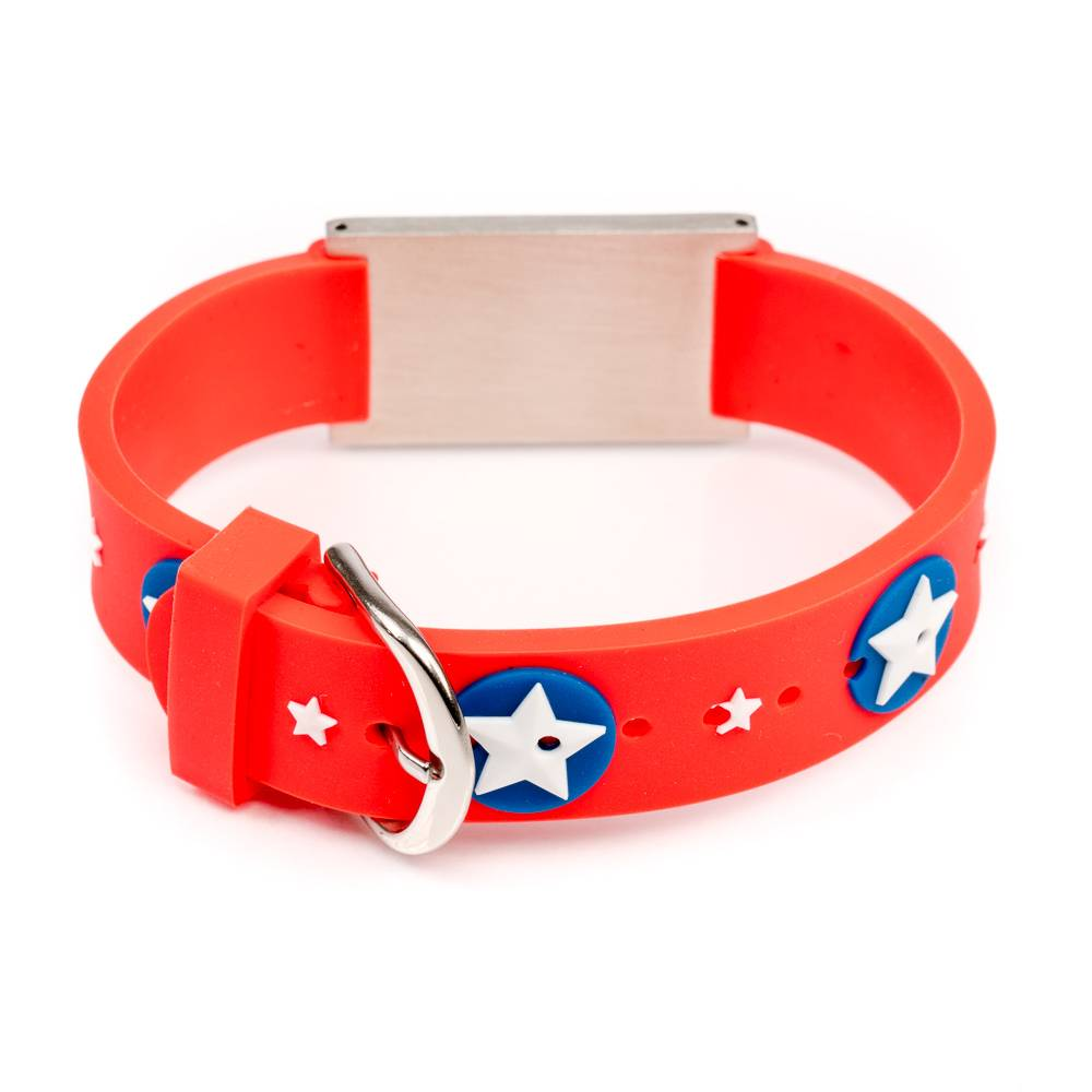 Icetags Medical Id Alert Bracelet For Kids Red Stars