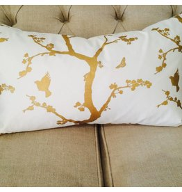 Ashley Meier Fine Linens GOLD Metallic Printed Lumbar Pillow Cover
