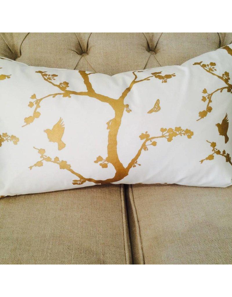 Ashley Meier Fine Linens GOLD Metallic Printed Lumbar Pillow Cover
