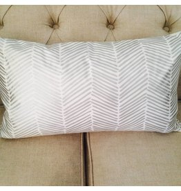Ashley Meier Fine Linens SILVER Metallic Printed Lumbar Pillow Cover