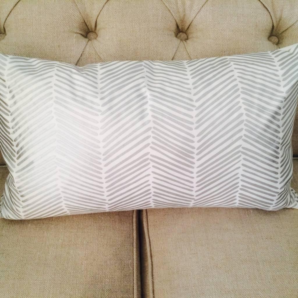 Ashley Meier Fine Linens SILVER Metallic Printed Lumbar Pillow Cover