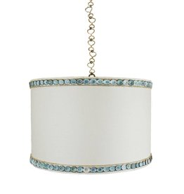 Ro Sham Beaux Sullivan Drum Pendant with sugar linen shade