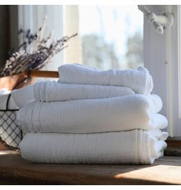 "Ashley Meier Fine Linens AM Linen Waffle Bath Towel 39"" x 63"" -  White"