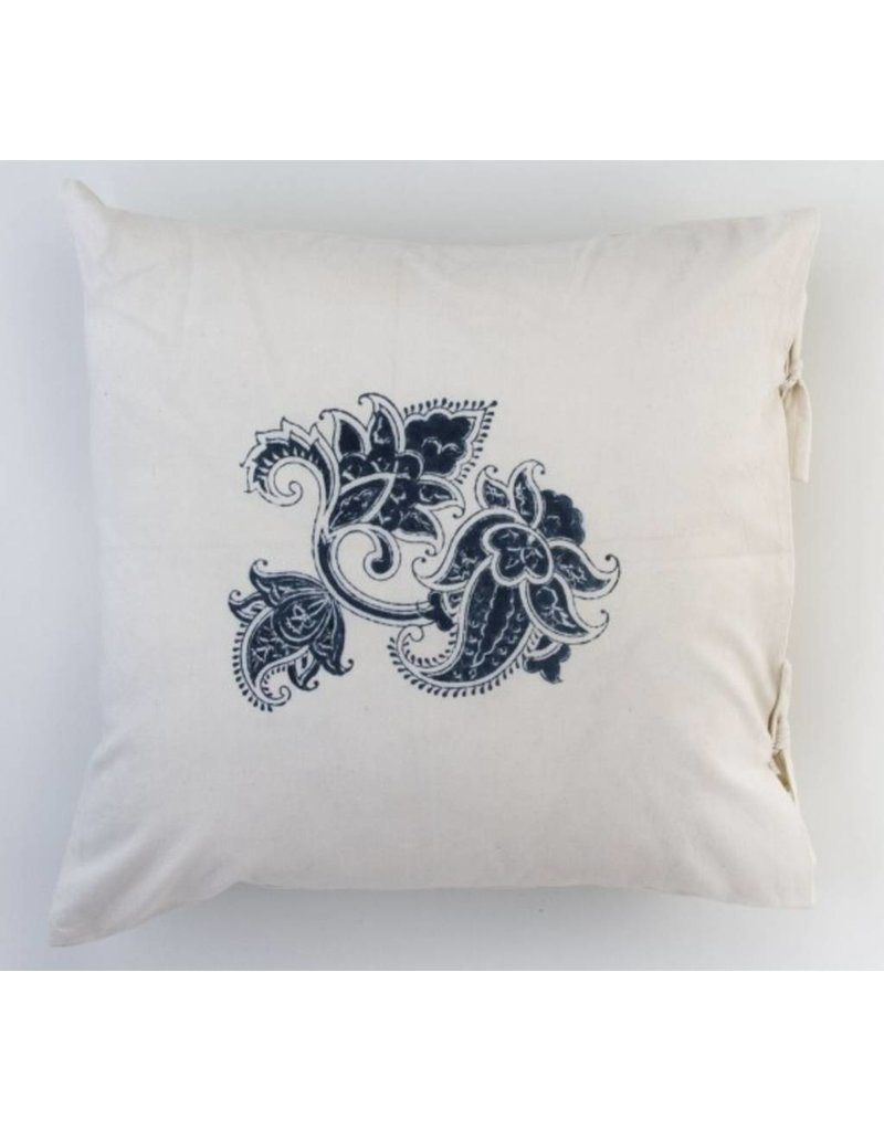 "Les Indiennes Les Indiennes ""Paris"" Small Deco Pillow Cover Indigo 18x18"