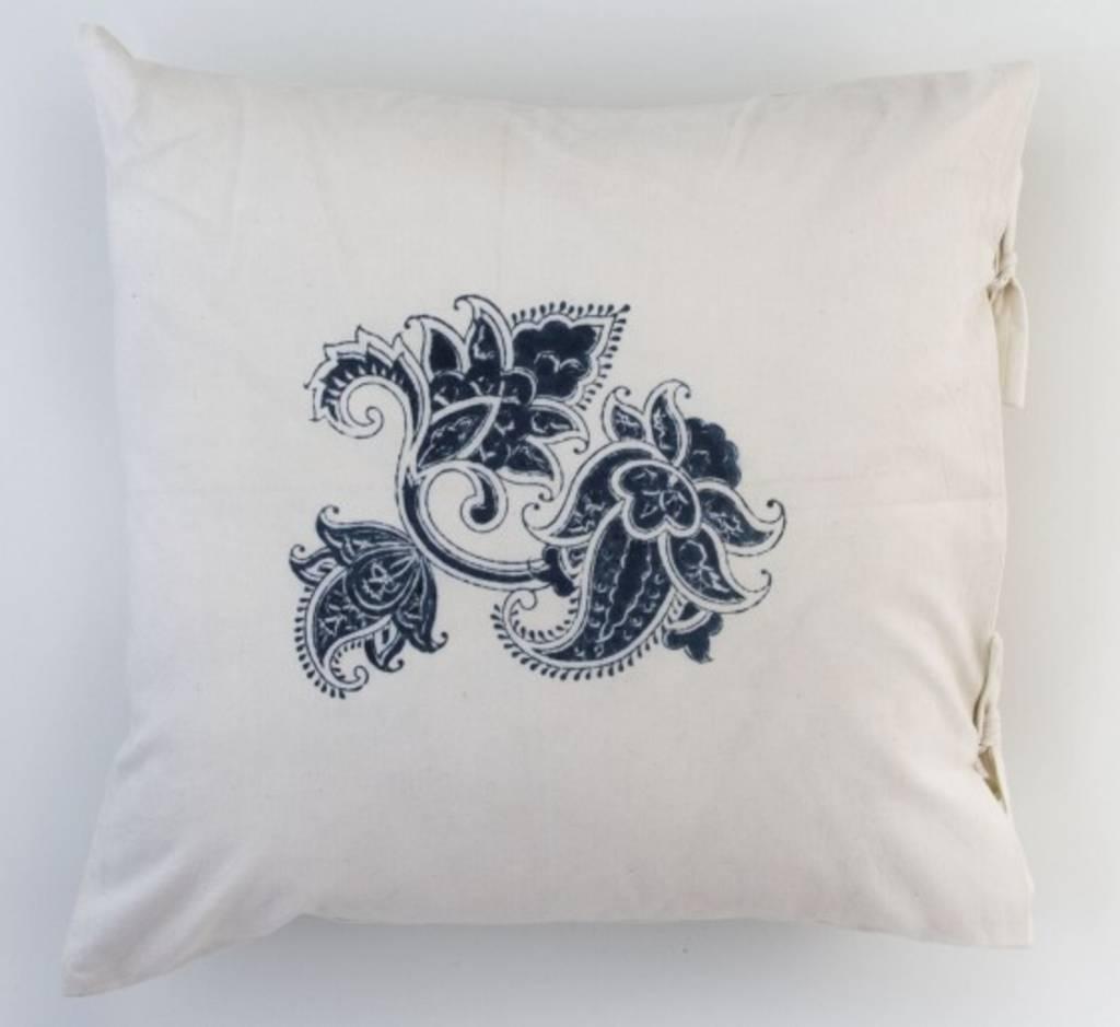 """Les Indiennes Les Indiennes """"Paris"""" Small Deco Pillow Cover Indigo 18x18"""