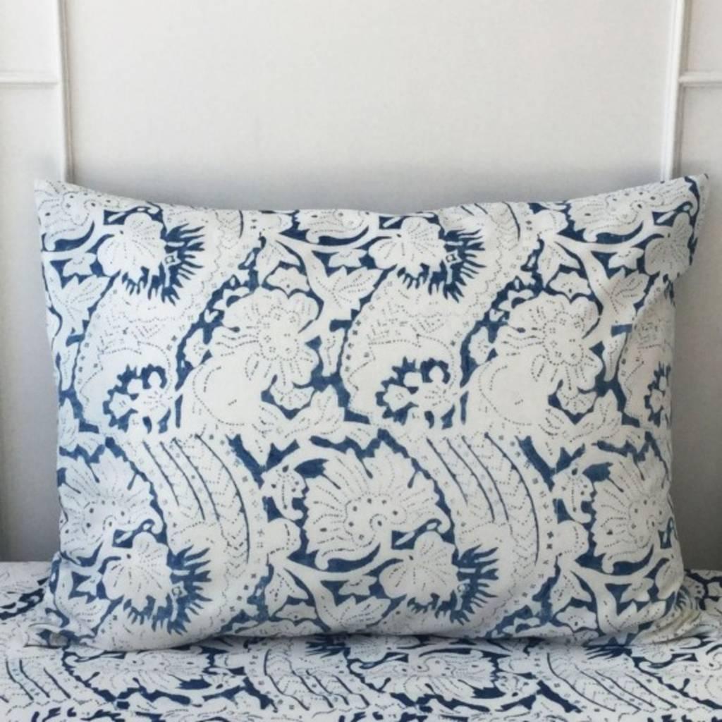 """Les Indiennes Les Indiennes """"Lisette"""" Standard Pillow - Indigo 20x26"""