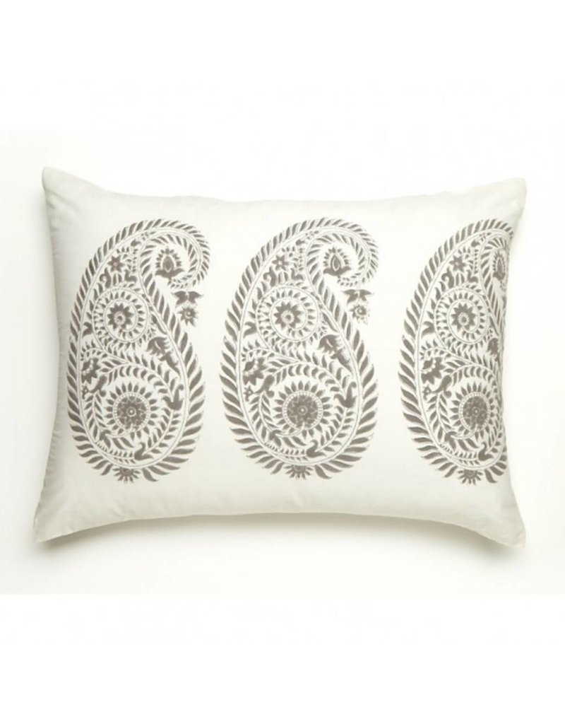 """Les Indiennes Les Indiennes """"Yvette"""" Standard Pillow French Gray"""