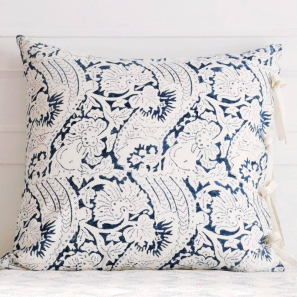 "Les Indiennes Les Indiennes ""Lisette"" Euro Pillow Cover in Indigo 26x26"