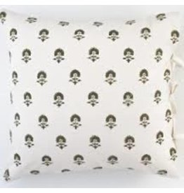 "Les Indiennes Les Indiennes ""Elise"" Deco Pillow Cover French Gray 22x22"
