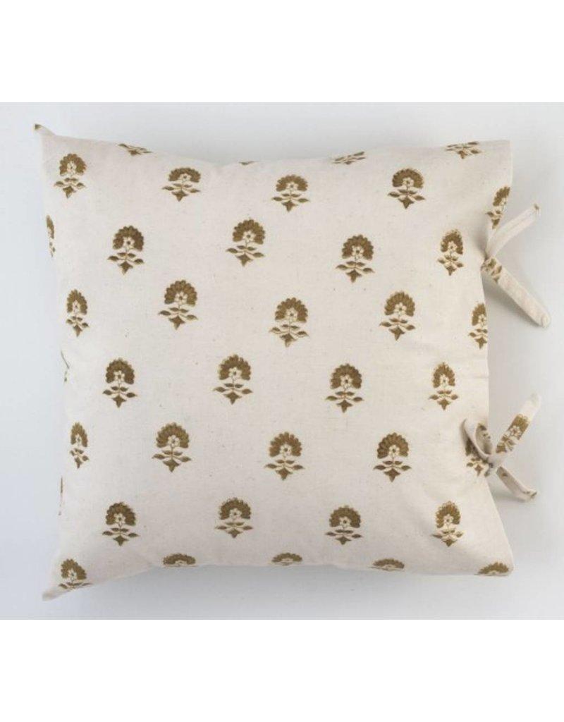 """Les Indiennes Les Indiennes """"Elise"""" Deco Pillow Cover Chocolate 22x22"""