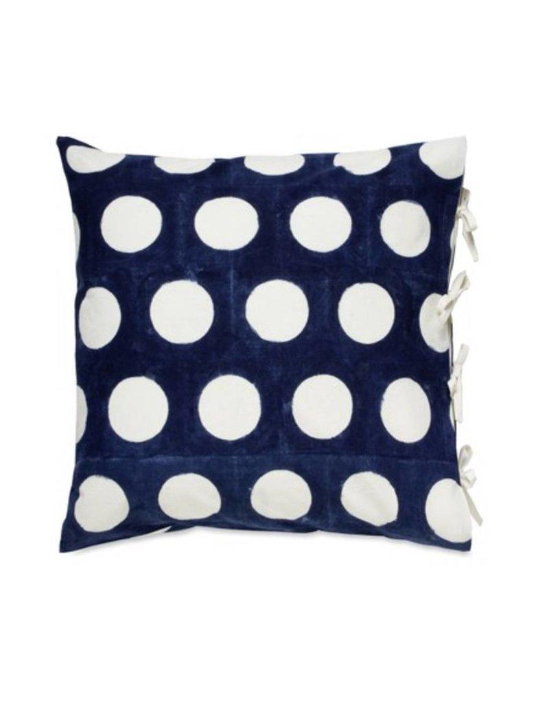 "Les Indiennes Les Indiennes ""Dot"" Reverse Deco Pillow Cover in Indigo 22x22"