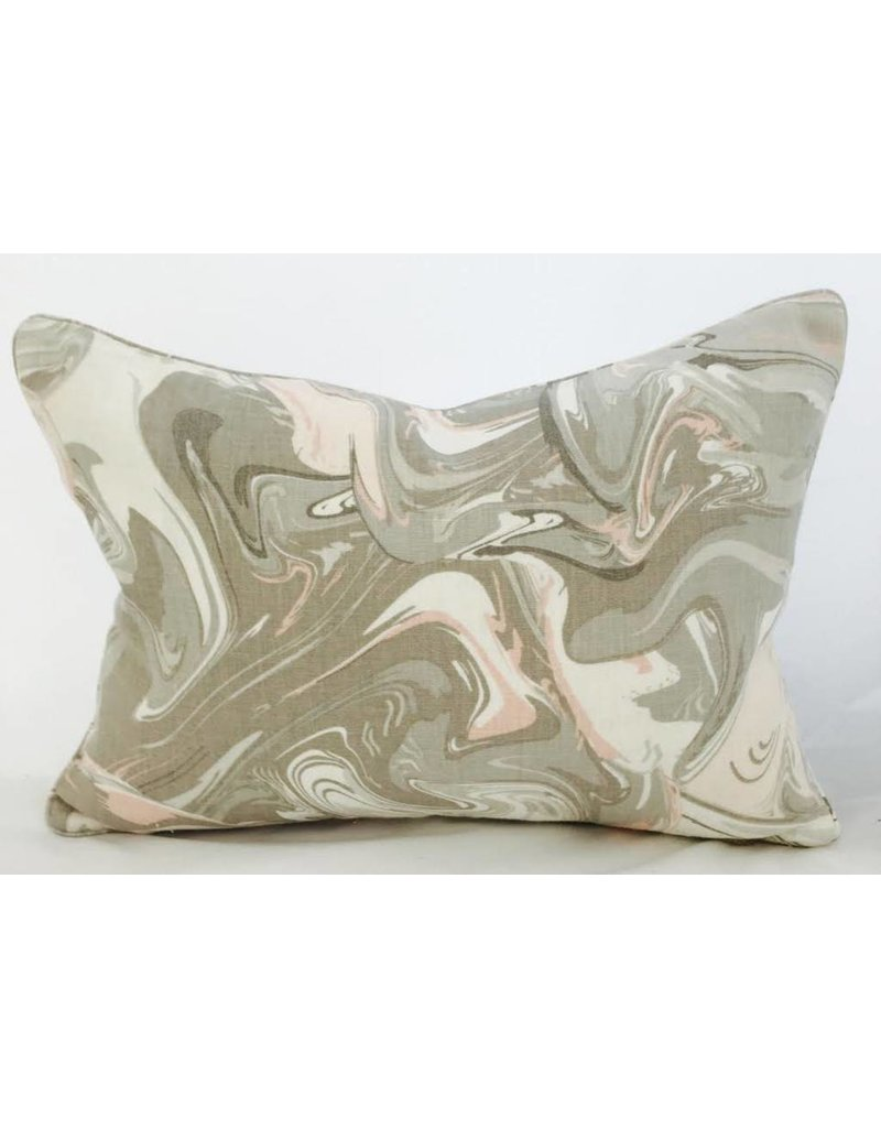 Legacy Linens 14x20 Pillow-Piped-Mar Swirl (Down) Flaxseed