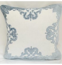 "India's Heritage Sky Blue Aviva 20"" Velvet Applique Embroider on White Linen Pillow Cover"