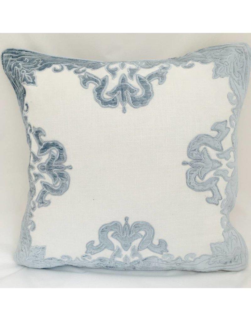 """India's Heritage Sky Blue Aviva 20"""" Velvet Applique Embroider on White Linen Pillow Cover"""