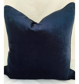 India's Heritage Navy Shimmer Linen Weave Velvet Pillow Cover 22x22