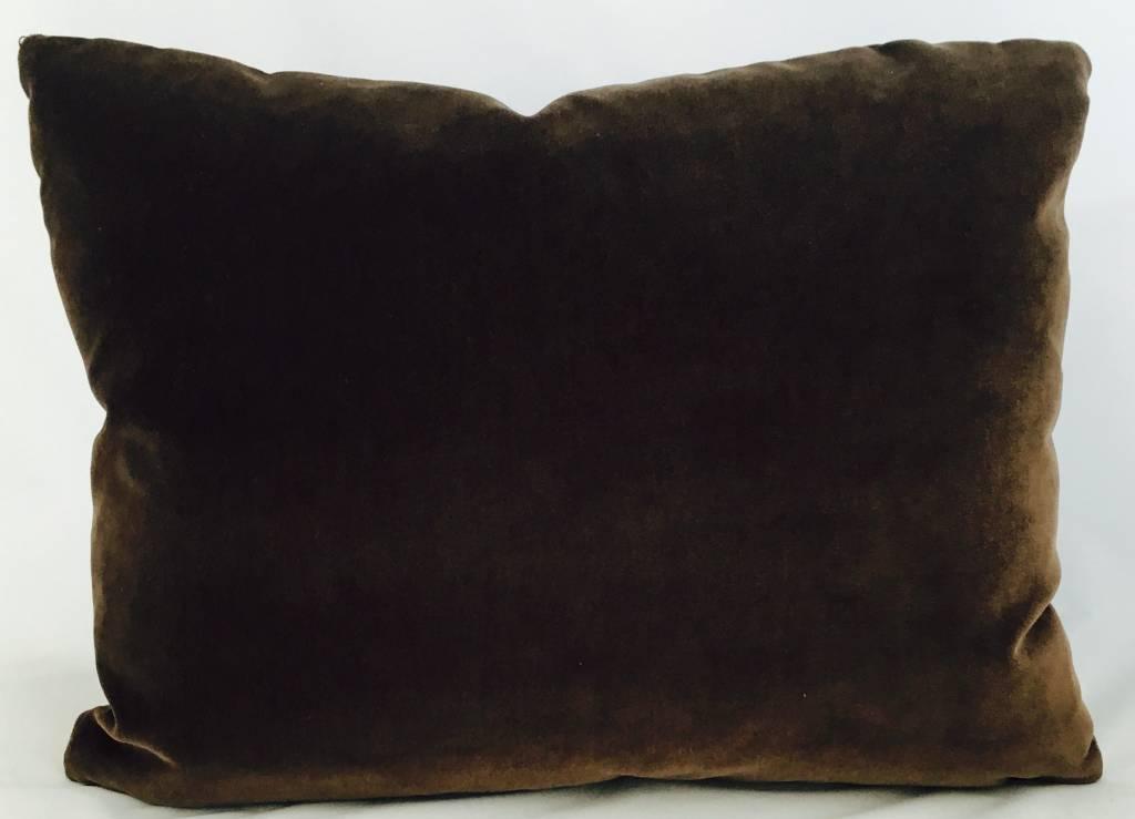 """Ashley Meier Fine Linens Godiva Velvet 14"""" x 18"""" pillow"""