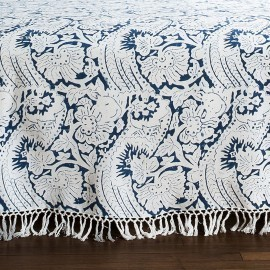 "Les Indiennes Les Indiennes ""Lisette"" Bed Throw Indigo King"