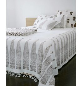 """Les Indiennes Les Indiennes """"Royale"""" bed throw chocolate king"""