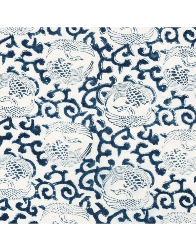 "Les Indiennes Les Indiennes Bed Cover Indigo ""Crane"" Full/Queen"
