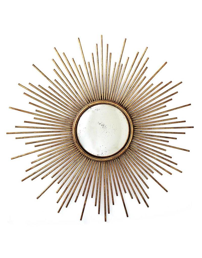 Two's Company Sunburst Antique Gold Wall Mirror