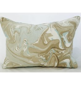 Legacy Linens 14x20 Pillow-Piped-Mar Swirl (Down) Aqua