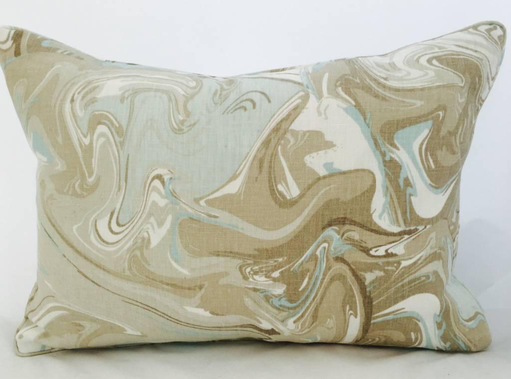 Legacy Linens 14x20 Pillow-Piped-Mar Swirl (Down) Aqua