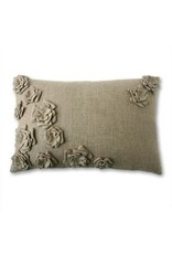 "Tourmaline Bouquet Linen Pillow in Natural - 16"" x 24"""