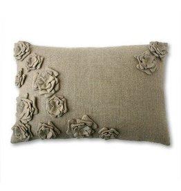 """Tourmaline Bouquet Linen Pillow in Natural - 16"""" x 24"""""""