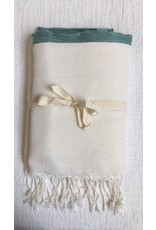 Scents and Feel Tablecloth/Throw, White/Aqua