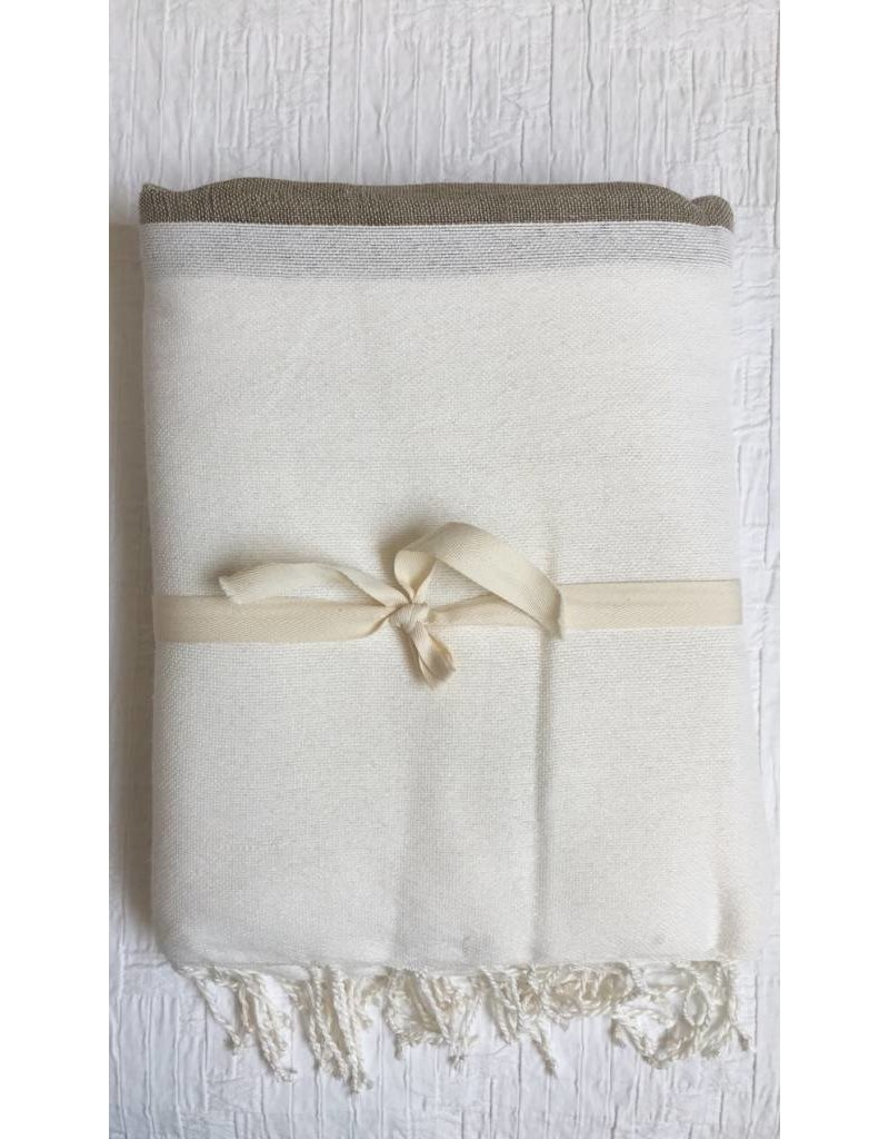 Scents and Feel Tablecloth/Throw -  White, Beige