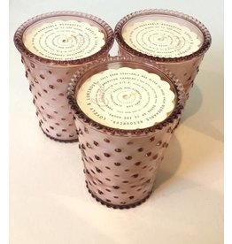 Coral Hobnail Glass Candle