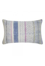 Indigo/pink printed pillow 14x20