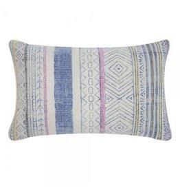 Indigo/pink printed pillow 14x20