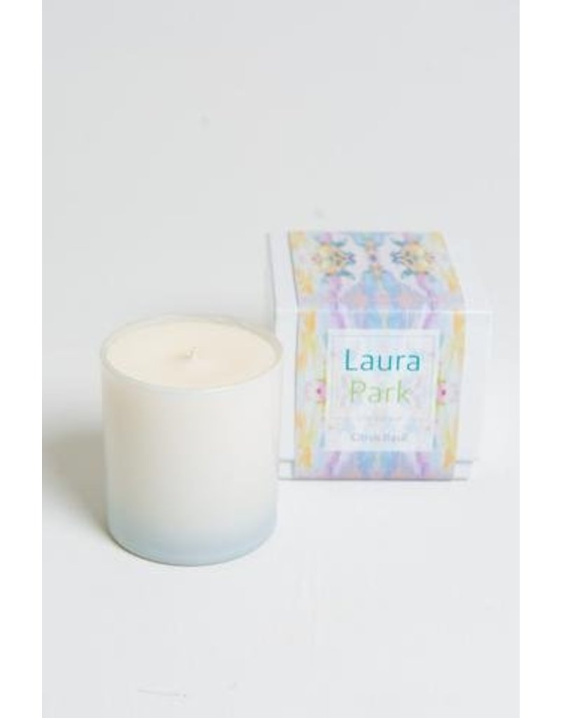 "Laura Park Citrus Basil Candle ""Lemonade Stand Light Blue"""