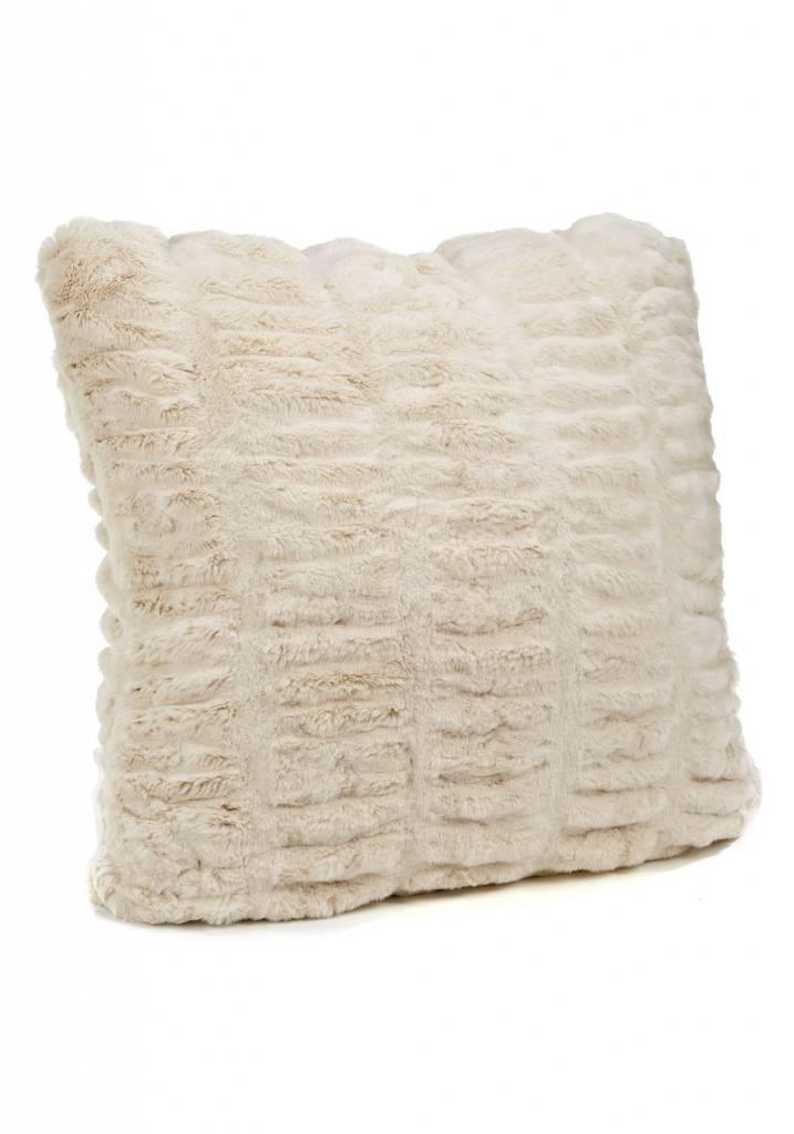 "Donna Saylers Fabulous Furs Faux Fur Couture Pillow 24"" x 24"" Ivory Mink"