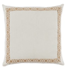 "Eggshell Linen with Camden Tape 24"" pillow"