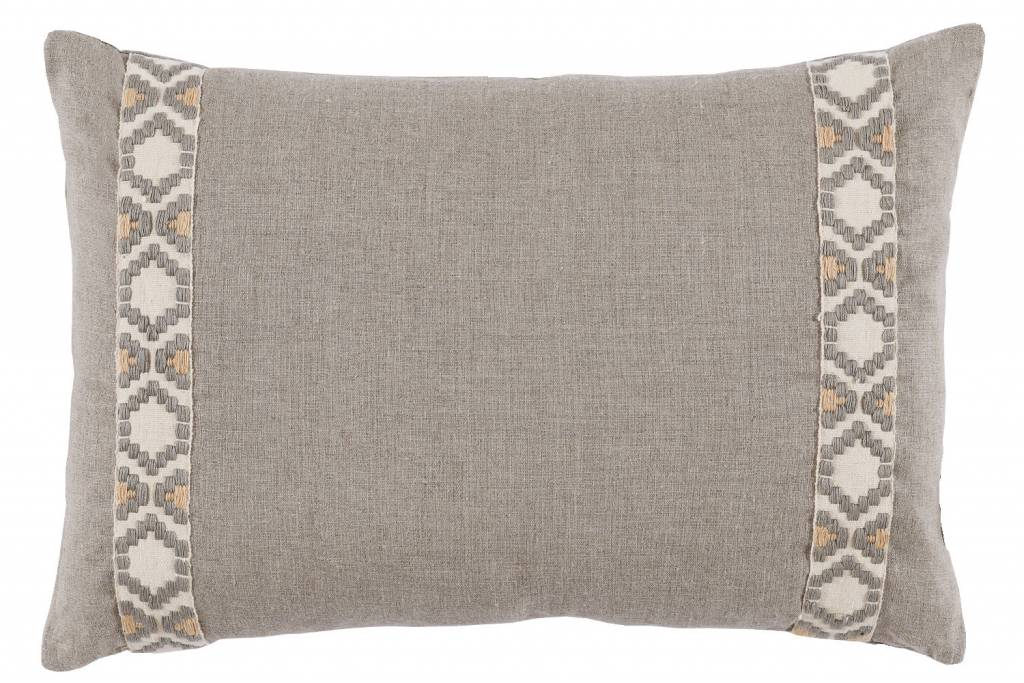 "Natural Linen with Grey Camden Tape, 13"" x 19"" lumbar pillow"