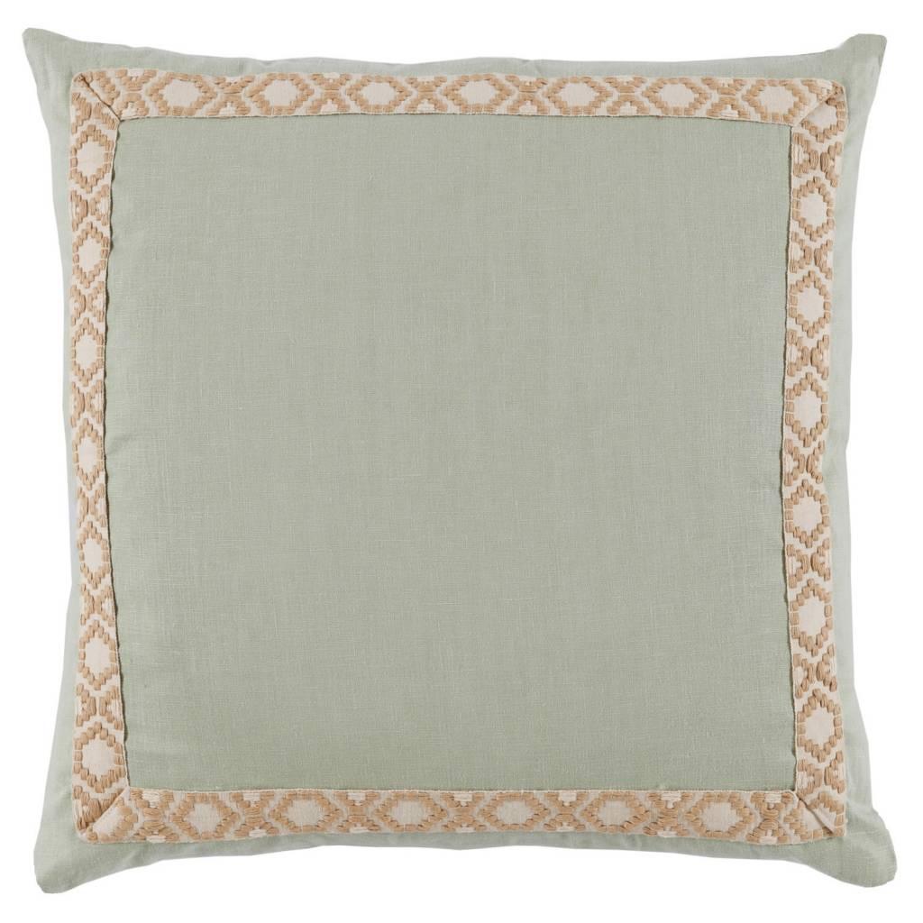 """Seafoam Linen with Camden Tape Pillow 24"""""""