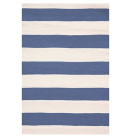 Dash & Albert Catamaran Stripe Denim/Ivory Indoor/Outdoor Rug 2x3
