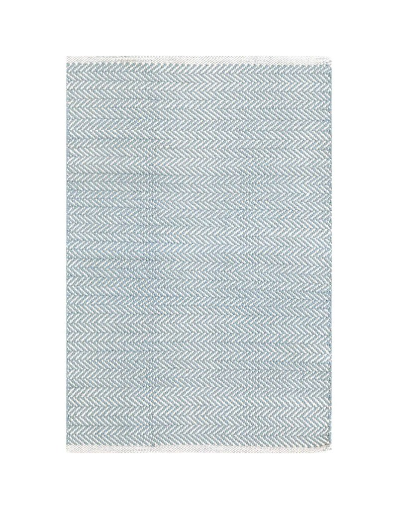 Dash & Albert Herringbone Swedish Blue Woven Cotton Rug 2x3