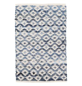 Dash & Albert Denim Rag Diamond Ivory Woven Cotton Rug 3x5