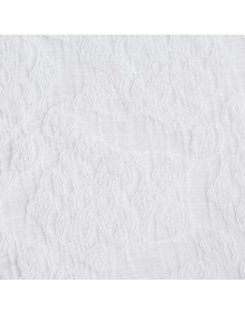 Matteo Scroll Coverlet- White/ Queen