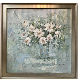 "Large European ""PRANZA"" Floral Oil Painting"