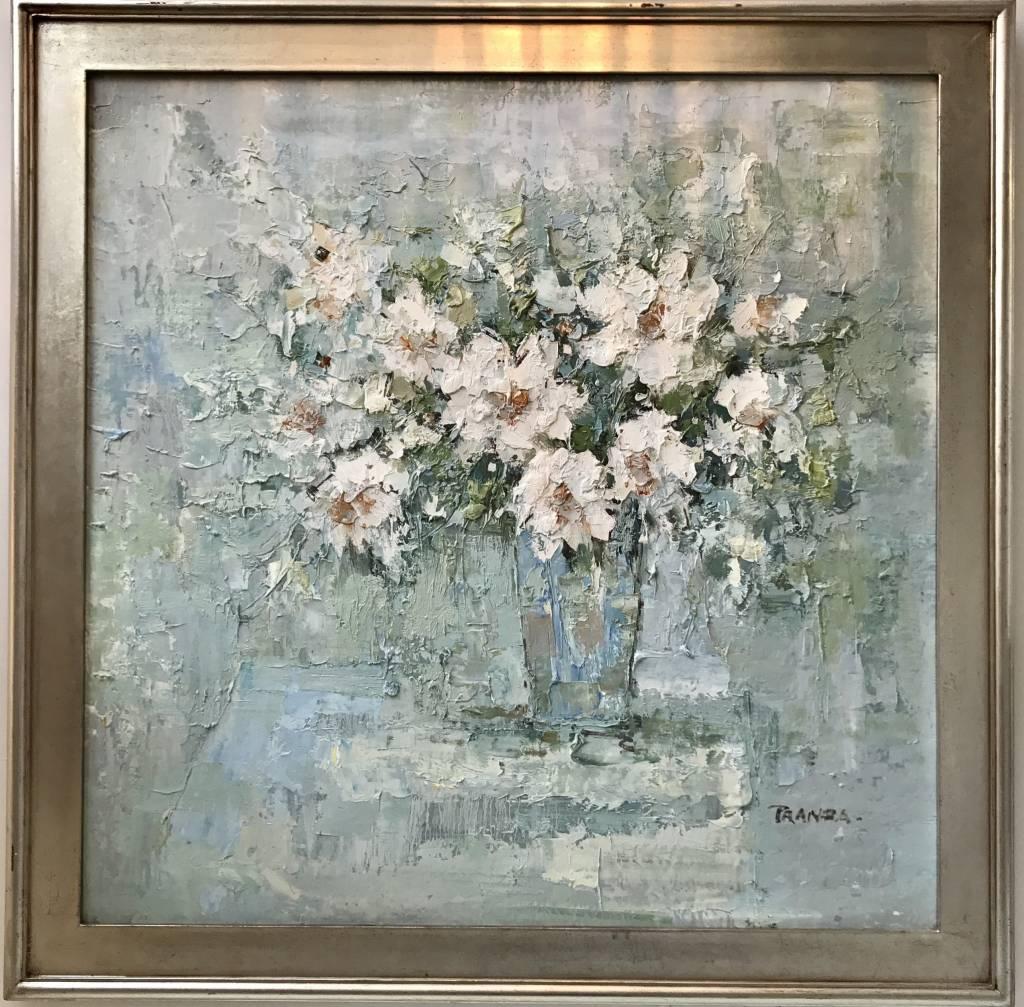 "Large European ""PRANZA"" Floral Oil Painting"