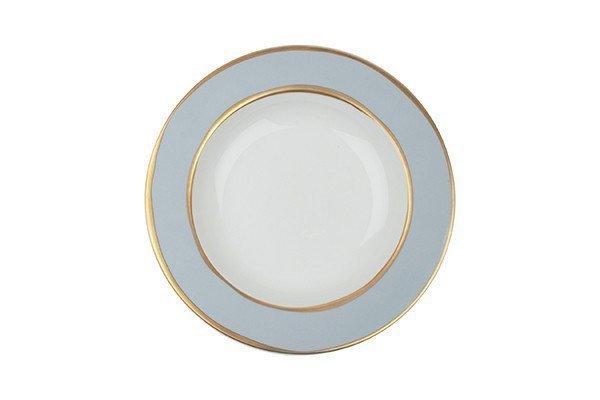 """Canvas Home La Vienne Pasta Bowl 13.5oz 9.1""""D Blue with Gold Rim"""