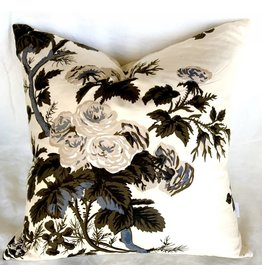 "Ashley Meier Fine Linens Schumacher 22"" x 22"" Pyne - charcoal pillow"
